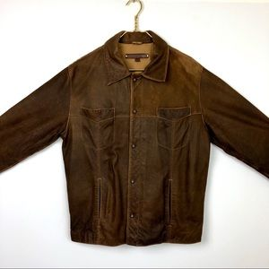 Guess brown Distressed leather button up Jacket